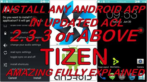 how to install android app in tizen updated acl 2 3 3 or