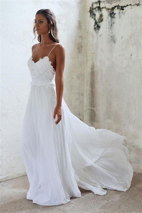dresses for summer wedding simple a line spaghetti straps open back summer wedding dress 3720