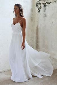 Simple a line spaghetti straps open back summer wedding dress for Spaghetti strap wedding dress