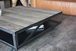 Table à Manger Industrielle Acier Et Bois : table basse industrielle bois gris acier micheli design ~ Teatrodelosmanantiales.com Idées de Décoration