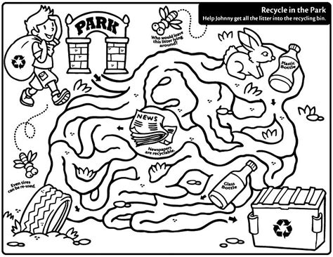Recycling Coloring Pages For Preschoolers Math