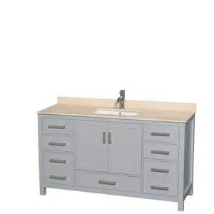 shop wyndham collection sheffield gray 60 in undermount single sink birch bathroom vanity with