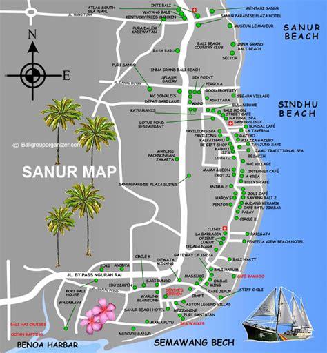 sanur map denpasar bali tourist information