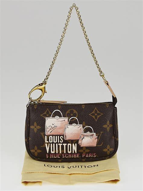 louis vuitton limited edition monogram canvas  rue scribe paris mini accessories pochette