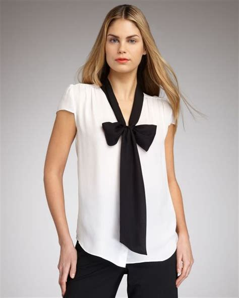 white blouse with bow bow blouse in white white black lyst