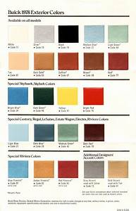 1978 Buick Exterior Colors Chart