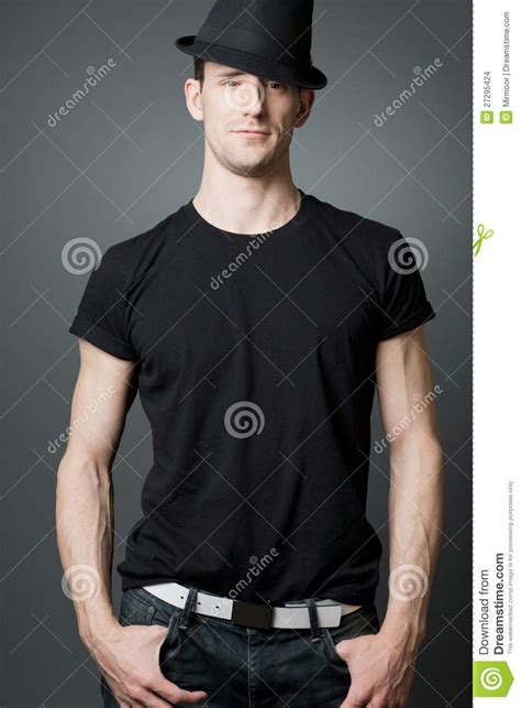 young handsome guy  black  shirt stock images image