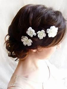 White Flower Hair Pins White Bridal Hair Accessories