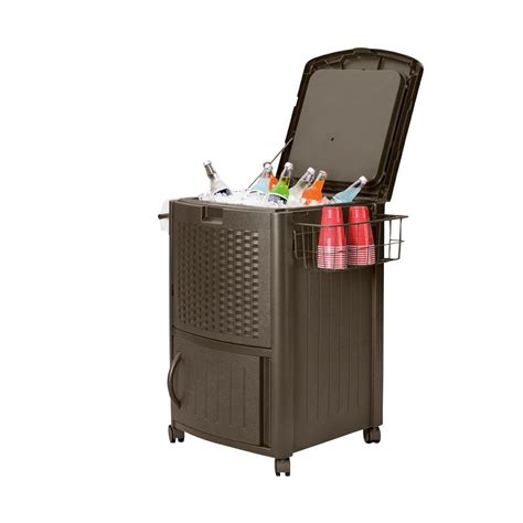 suncast 77 qt resin wicker cooler with cabinet
