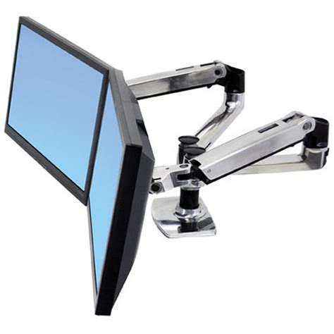 ergotron desk mount arm ergotron lx dual desk mount side by side arm 45 245 026 b h