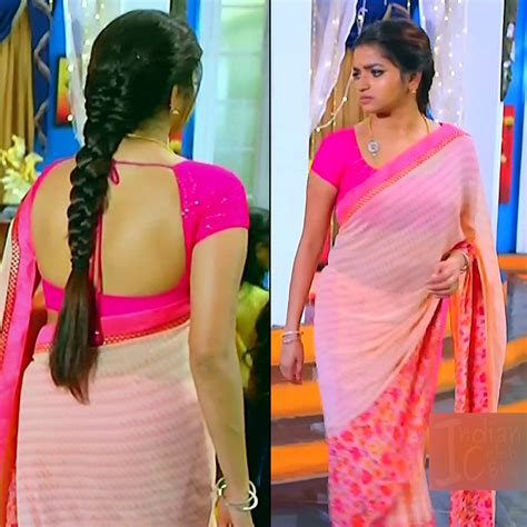 Nithya Ram Kannada And Tamil Serial Actress Hot Saree Caps