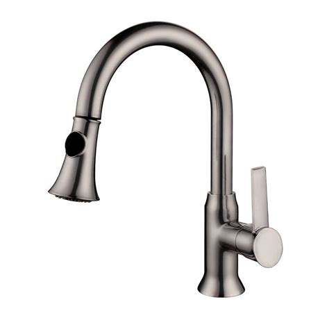 kitchen faucet brushed nickel yosemite home decor single handle pull out sprayer kitchen
