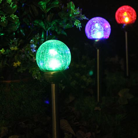 battery powered led light crackle glass solar color changing white led stainless