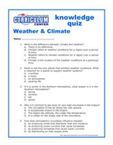 weather climate knowledge quiz worksheet for 5th 7th