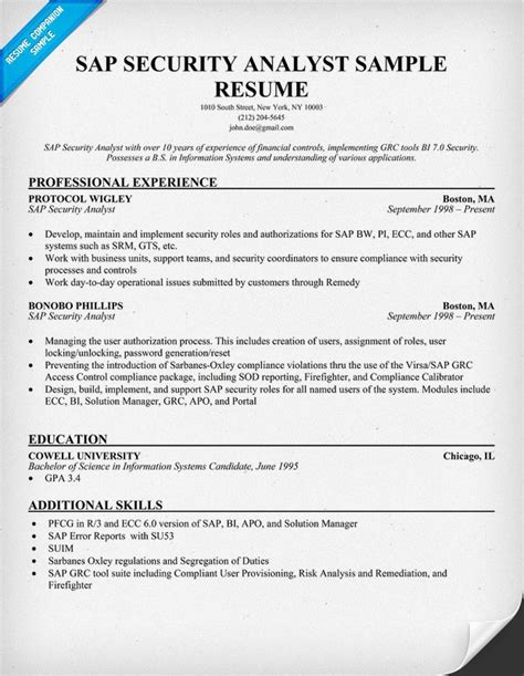 Sap Security Consultant Resume Sles by Sap Security Consultant Resume Sles 28 Images Sap