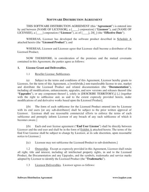 distributor agreement templates  word format excel