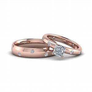 princess cut shaped couple wedding rings his and hers With couple wedding rings