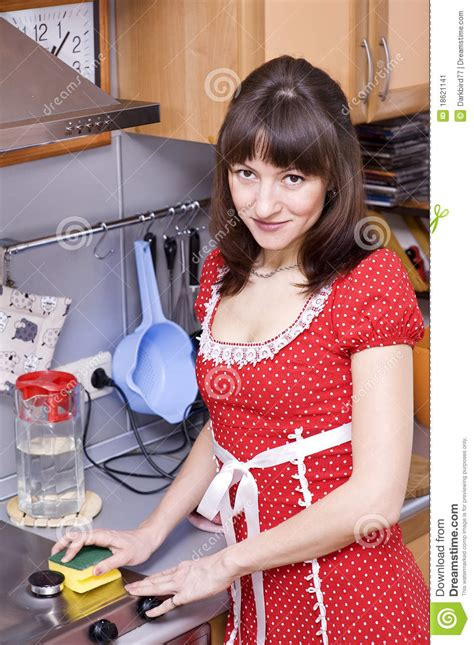 woman cleaning  kitchen stock image image