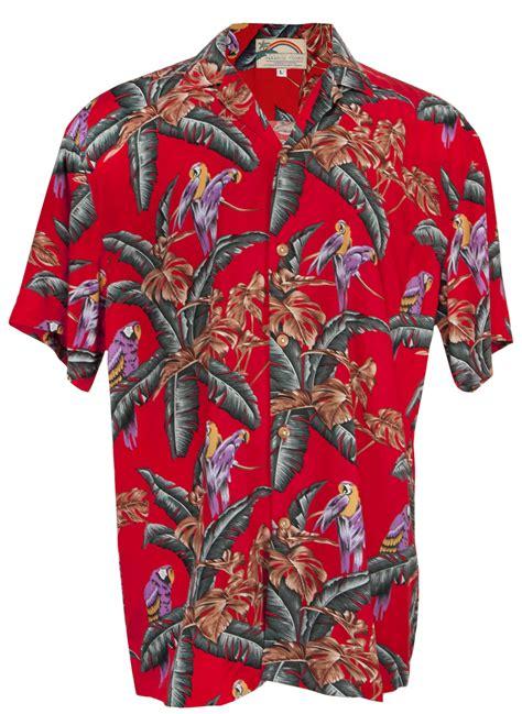 Jungle Bird Magnum PI Mens Hawaiian Aloha Shirt in Red ...