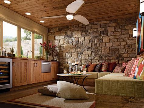 2 Lovely Stone Wall Living Room Design 2014