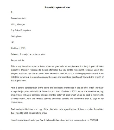 formal letter templates  sample