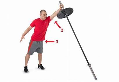 Landmine Press Exercise Arm Single Squat Barbell
