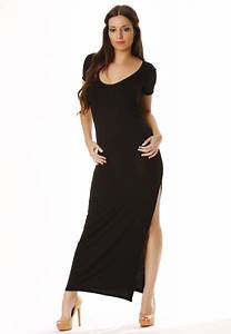 Magnifique robe longue noire fendu sur le cote super for Robe fendu sur le coté