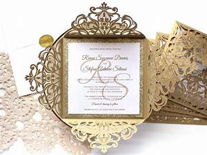 25 x gold glitter wedding invitation white and gold With black and gold laser cut wedding invitations