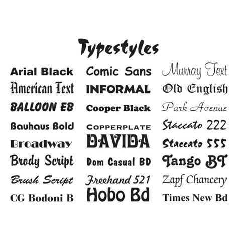 5 families of typography history and exles of each style family