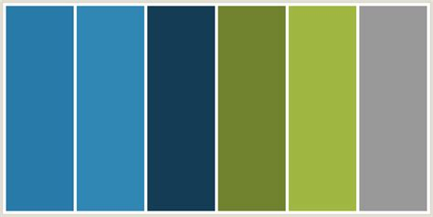 blue and green color schemes colorcombo229 with hex colors 287aa9 3087b4 143d55