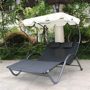 Transat Double Jardin : transat de jardin bain de soleil biplace noir avec ombrelle ~ Teatrodelosmanantiales.com Idées de Décoration