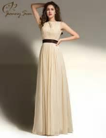 New Simple Design Prom Dress with Brown Sash Scoop Sleeveless Long Dress 2015 Custom Vestidos De Noche Free Shipping JS527