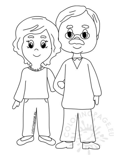happy grandparents day  design coloring page