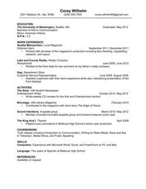 How To Put Bachelor Degree On Resume by 33 Best Images About Resume On High School