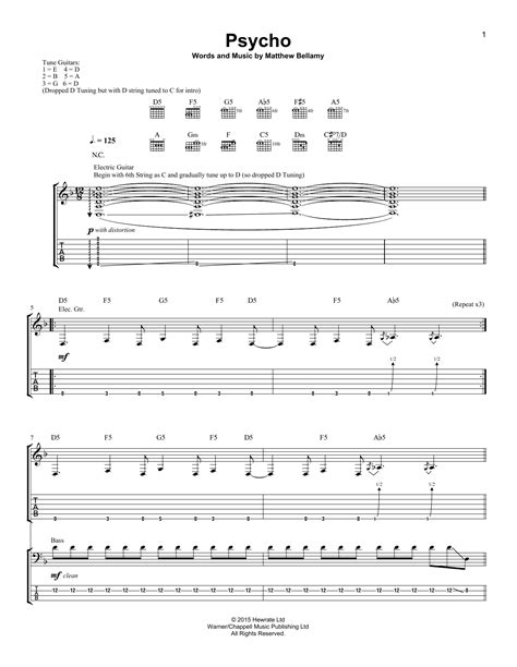 Put Your Lights On Tabs by Psycho Guitar Tab By Muse Guitar Tab 160865
