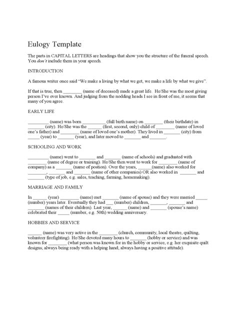 Eulogy Template by Funeral Eulogy Template 2 Free Templates In Pdf Word