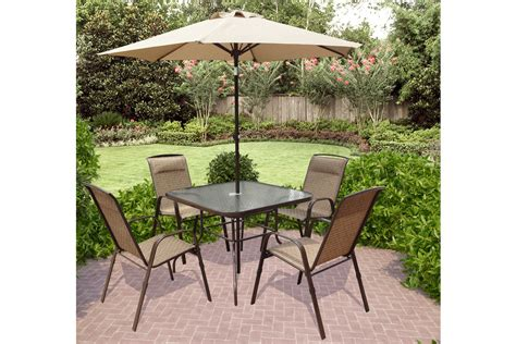 corliving 5 piece patio dining set with tilting umbrella