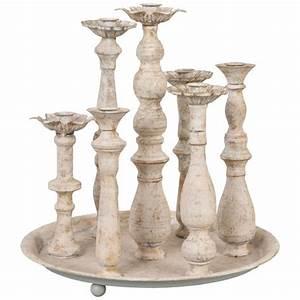 Plateau Pour Bougie : plateau chandelier rond pour 7 bougies blanc vieilli par ~ Teatrodelosmanantiales.com Idées de Décoration