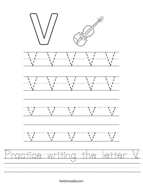practice writing the letter v worksheet twisty noodle