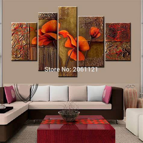 home decorative handpainted 5 brown decorative paintings on