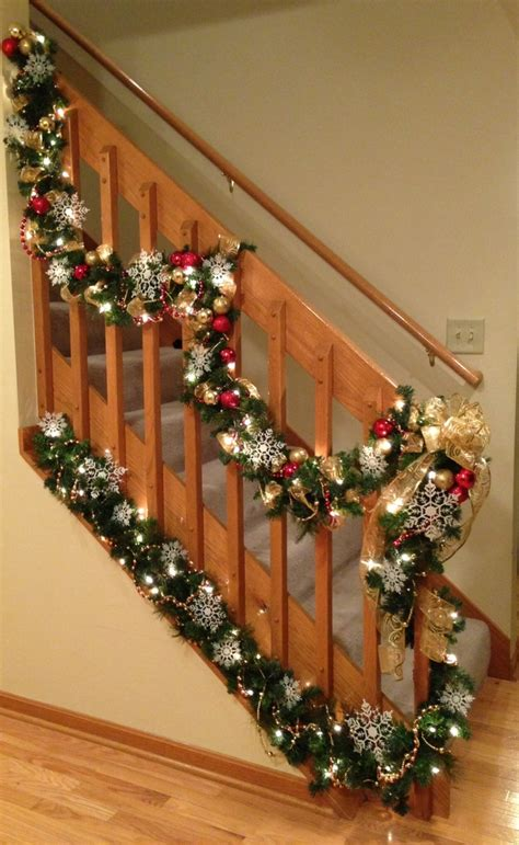 lighted garland for staircase 1138 best images about christmas staircase on pinterest