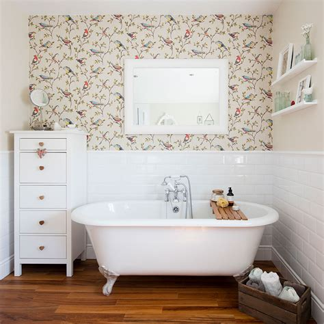 bathroom makeover  country wallpaper  rolltop bath