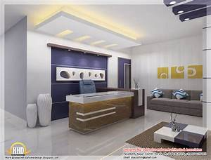 Beautiful 3d interior office designs kerala home design for Home office interior design ideas