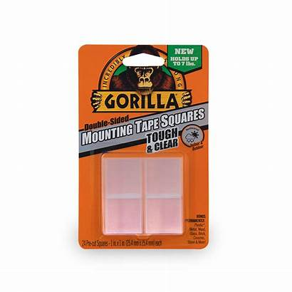 Clear Squares Double Sided Gorilla Tape Mounting