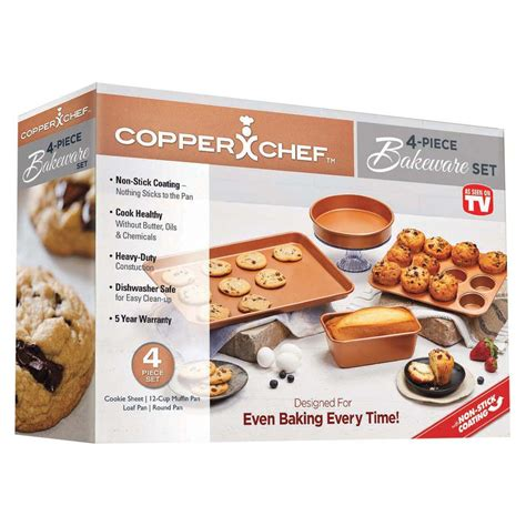 tv copper chef bakeware set shop cookware
