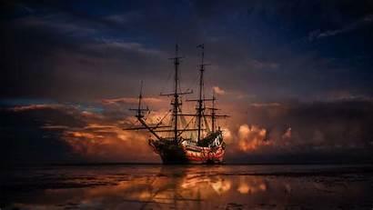 Ship Sunset Horizon Sea Unsplash 1080p Background