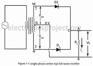 single phase full wave rectifier electronics project With full wave diode rectifier circuit diagram for centre tapped