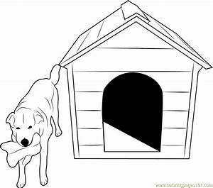 Dog with Bone Coloring Page - Free Dog House Coloring ...