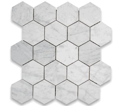 marble hexagon tile carrara bianco honed 3 quot hexagon marble mosaic tile