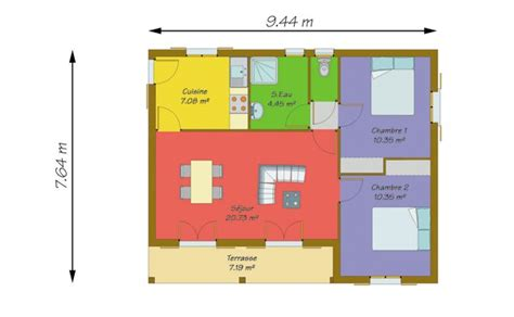 Plan Maison 2 Chambres - plan maison 50m2 2 chambres